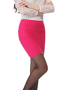 billige AW 18 Trends-Dame Bomuld Bodycon Nederdele - I-byen-tøj Ensfarvet