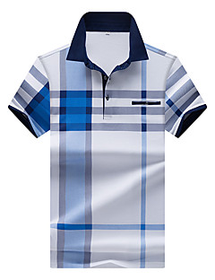 Men's Casual/Daily Plus Size Simple Summer Polo,Plaid Shirt Collar Short Sleeves Cotton Polyester Spandex Thin Medium
