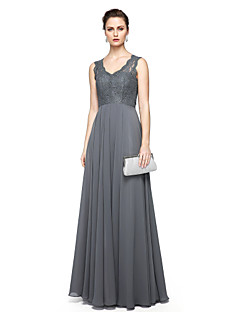 billiga Aftonklänningar-Åtsmitande V-hals Golvlång Chiffong / Spets Formell kväll Klänning med Spets av TS Couture®