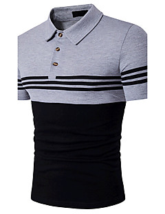 Bomull Medium Kortermet,Skjortekrage Polo Fargeblokk Sommer Enkel Aktiv Ut på byen Formelle Herre