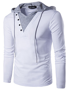 Men's Daily Street chic Polo,Solid Hooded Long Sleeves Polyester