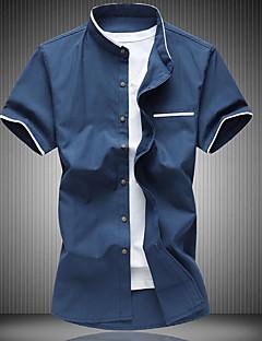 メンズ カジュアル/普段着 Tシャツ,シンプル シャツカラー カラーブロック コットン 半袖