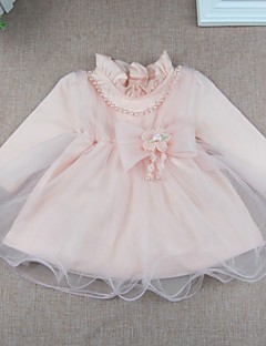Baby Party/Cocktail Solid DressCotton Polyester Spring Fall Pink Dress with Pearl