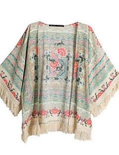 Polyester Medium Halvlange ermer,Hengende krage Bluse Trykt mønster Vår Sommer Enkel Fritid/hverdag Dame