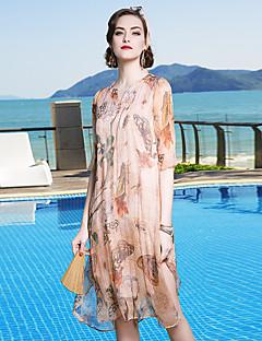 Χαμηλού Κόστους YENMEINAR-Γυναικεία Παραλία Φουσκωτό Μανίκι Γραμμή Α Φόρεμα - Φλοράλ, Λουλούδι Με Βολάν