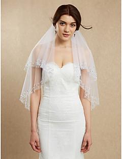 Недорогие -Свадебные вуали Два слоя Фата до кончиков пальцев Загнутый край Тюль Белый Цвет слоновой кости