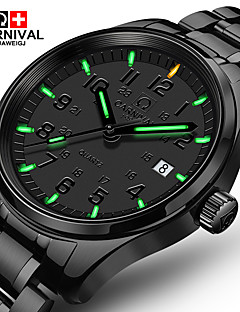 billige Høj kvalitet-Carnival Herre Quartz Armbåndsur Afslappet Ur Rustfrit stål Bånd Luksus Mode Sort