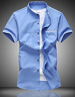 billige Herremote og klær-Bomull Polyester Kortermet,Klassisk krage Skjorte Ensfarget Sommer Fritid Daglig Herre