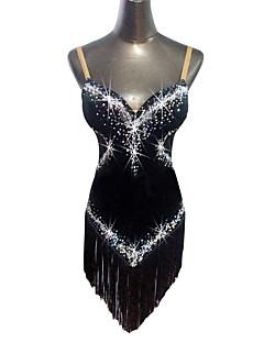 tanie Stroje do tańca latino-Taniec latynoamerykański Suknie Damskie Wydajność Aksamit Frędzel / Kryształy / kryształy górskie Bez rękawów Naturalny Ubierać