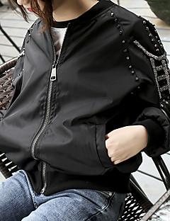 Damen Volltonfarbe Klassisch Alltagskleidung Schultaschen Verabredung Jacke,Rundhalsausschnitt Frühling Herbst Lange Ärmel Standard N / A