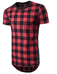 お買い得  メンズTシャツ&タンクトップ-男性用 スポーツ Tシャツ, 活発的 ラウンドネック カラーブロック チェック コットン