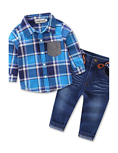 Boys' Party Daily Going out Print Plaid Clothing Set,Cotton Polyester Spring Fall All Seasons Long Sleeve Check Blue