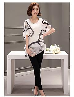 Koreanske versjonen av 2017 sommeren chiffon skjorte stor størrelse utskrift falske to kortermet lang seksjon av løs horn Ermet skjorte