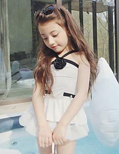 billige Badetøj til piger-Pige Folder Ensfarvet Patchwork Badetøj, Bomuld Hvid Sort