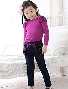 billige Bukser og leggings til piger-Patchwork Pigens Daglig I-byen-tøj Bomuld Forår Efterår Vinter Kjole Rosette Folder Rosa