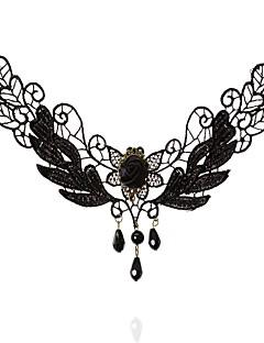 Kadın's Gerdanlıklar Oval Shape Crown Shape Dantel Moda Türkçe Klasik Siyah Mücevher Için Düğün Parti Özel Anlar Doğumgünü Nişan 1pc