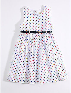 cheap Kids' New Ins-Girl's Daily Print Dress,Cotton Linen Summer Sleeveless Floral White