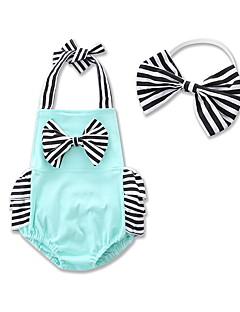 billige Babytøj-Baby Pige En del Daglig Formel I-byen-tøj Stribet, Bomuld Sommer Uden ærmer Stribet Rosette Grøn