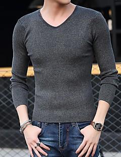 tanie Męskie swetry i swetry rozpinane-Męskie Okrągły dekolt Pulower - Classic Style, Solid Color