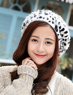 Women Autum Winter Vintage Casual Wool Leopard Dot Printing Octagonal Beret Hat