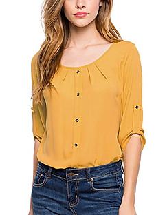 Damen Solide Einfach Lässig/Alltäglich Bluse,Rundhalsausschnitt Alle Saisons ¾-Arm Kunstseide Polyester Dünn