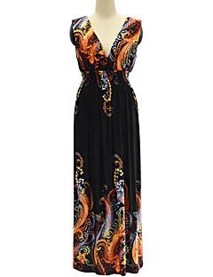 Χαμηλού Κόστους SWEET CURVE-Γυναικεία Μεγάλα Μεγέθη Μπόχο Swing Φόρεμα Εξώπλατο Στάμπα Μακρύ Ψηλοκάβαλο Βαθύ V