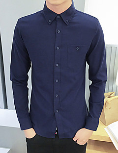 hesapli Erkek Üst Giyim-Erkek Gömlek Solid Günlük