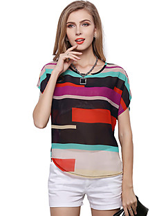 Women's Daily Plus Size Cute Casual Spring Summer Blouse,Rainbow Patchwork Round Neck Short Sleeves Polyester Thin Translucent