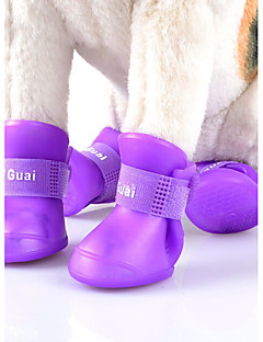 billiga Hundkläder-Katt Hund Skor och stövlar Gulligt Vindtät Vändbar Vattentät Mode Sport Enfärgad Orange Purpur Gul Grön För husdjur