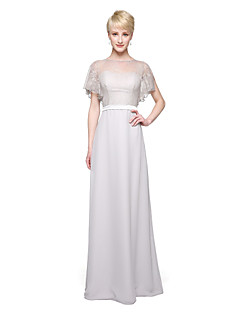 Sheath / Column Jewel Neck Floor Length Chiffon Lace Bridesmaid Dress with Lace Sash / Ribbon Pleats by LAN TING BRIDE®