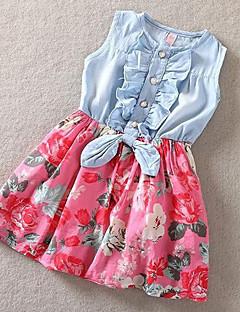 tanie Odzież dla dziewczynek-Sukienka Bawełna Dziewczyny Kwiaty Patchwork Lato Bez rękawów Kwiatowy Czerwony Niebieski