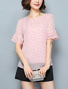 여성 도트무늬 라운드 넥 짧은 소매 블라우스,심플 캐쥬얼/데일리 폴리에스테르 봄 여름 얇음