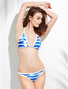 billige Bikinier og damemote 2017-Dame Dytt opp Bikini Blomster,Polyester Grime Solid