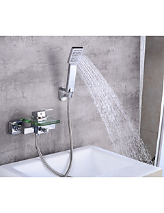 tanie Wodospad-Współczesny Umieszczona centralnie Wodospad Zawór ceramiczny Pojedynczy Uchwyt Dwa Otwory Chrom , Bateria Wannowa
