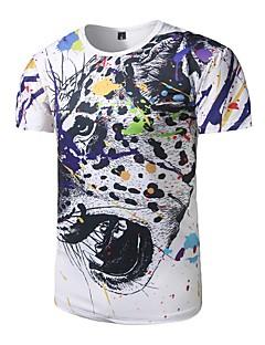 お買い得  メンズ トップス-男性用 Tシャツ, 活発的 ラウンドネック アニマルプリント