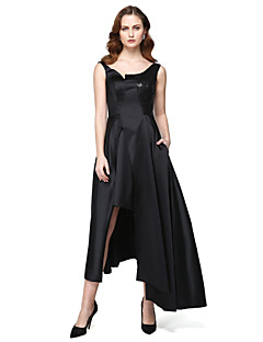 cheap Celebrity Dresses-A-Line Jewel Neck Asymmetrical Satin Formal Evening / Black Tie Gala Dress with Sequin Pocket by TS Couture®