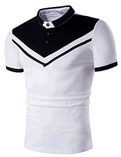 Bomull Medium Kortermet,Skjortekrage Polo Fargeblokk Sommer Enkel Aktiv Fritid/hverdag Strand Herre