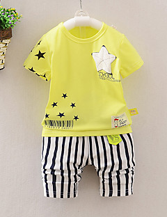 Unisex Daily Sports Going out Striped Print Clothing Set,Cotton Summer Short Sleeve Cartoon Stripes Blue Blushing Pink Yellow