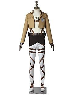 """billige Anime cosplay-Inspirert av Attack on Titan Eren Jager Anime  """"Cosplay-kostymer"""" Cosplay Klær Ensfarget Langermet Topp Bukser Forkle Belte Mer Tilbehør"""