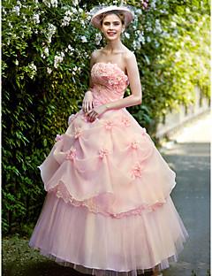 الكرة ثوب الأميرة حمالة الطابق طول الأورجانزا فستان الزفاف مع زهرة التي كتبها تيانيو