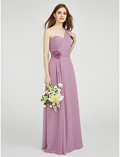 cheap Bridesmaid Dresses-Sheath / Column One Shoulder Floor Length Chiffon Bridesmaid Dress with Draping Flower Ruched Criss Cross by LAN TING BRIDE®