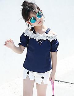 preiswerte Kinderkleidung-Mädchen Kleidungs Set Alltag Ausgehen Punkt Patchwork Baumwolle Sommer Kurzarm Blumig Punkt Zeichentrick Marineblau