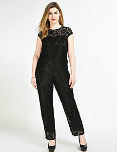 Cute Ann Women's High Rise Work Party Going out Casual/Daily Club Holiday Jumpsuits,Sexy Vintage Cute Straight Knitting Lace Solid All Seasons