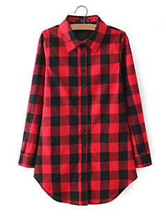 Damen Schachbrett Einfach Lässig/Alltäglich Hemd,Ständer Sommer Langarm Rot / Schwarz Baumwolle Dünn