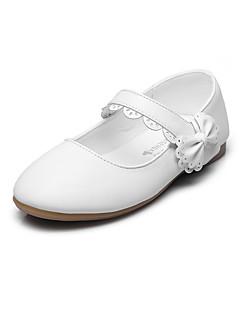 hesapli Çiçekçi Kız Ayakkabıları-Düz Ayakkabılar-Düğün Açık Hava Ofis ve Kariyer Elbise Rahat Parti ve Gece-Rahat-Yapay Deri-Düz Topuk-Beyaz Siyah Kırmzı Pembe-Genç Kız