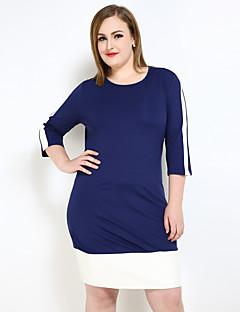 Kadın Büyük Beden Seksi Sade Sokak Şıklığı Kombinezon Tişört Tunik Elbise Zıt Renkli,¾ Kol Uzunluğu Yuvarlak Yaka Diz-boyu PU Polyester