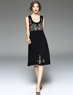 Women's Party Going out Casual/Daily Loose Dress,Solid Print U Neck Midi Sleeveless Rayon Spandex Spring Summer Mid Rise Micro-elastic