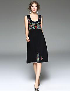 Damen Lose Kleid-Party Ausgehen Lässig/Alltäglich Solide Druck U-Ausschnitt Midi Ärmellos Kunstseide Elasthan Frühling Sommer Mittlere