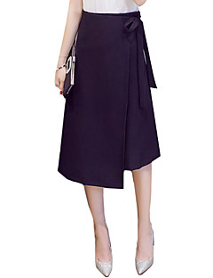 Women's Work Going out Asymmetrical Skirts,Street chic Vintage A Line Split Solid Fall Spring