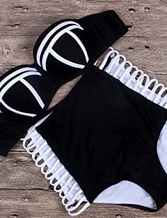 billige Bikinier og damemote 2017-kvinners stroppeløs halter bandeau tankini - solid stripet, ryggløs høy midje